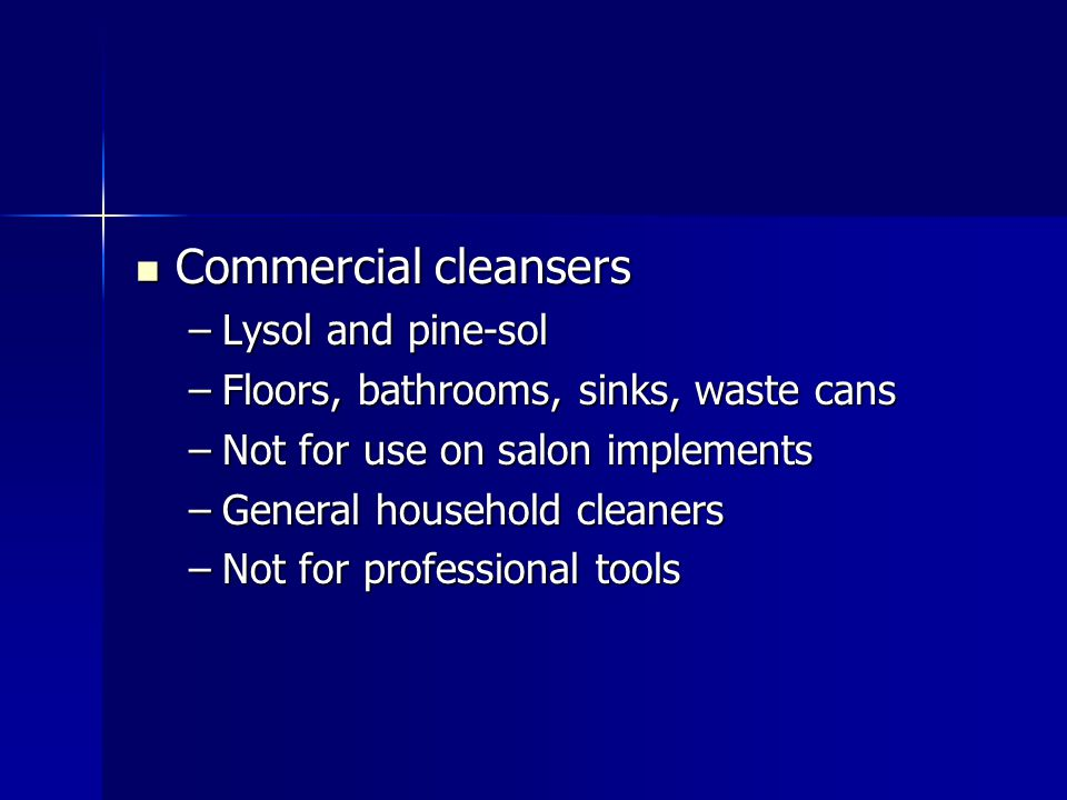 Commercial cleansers Lysol and pine-sol