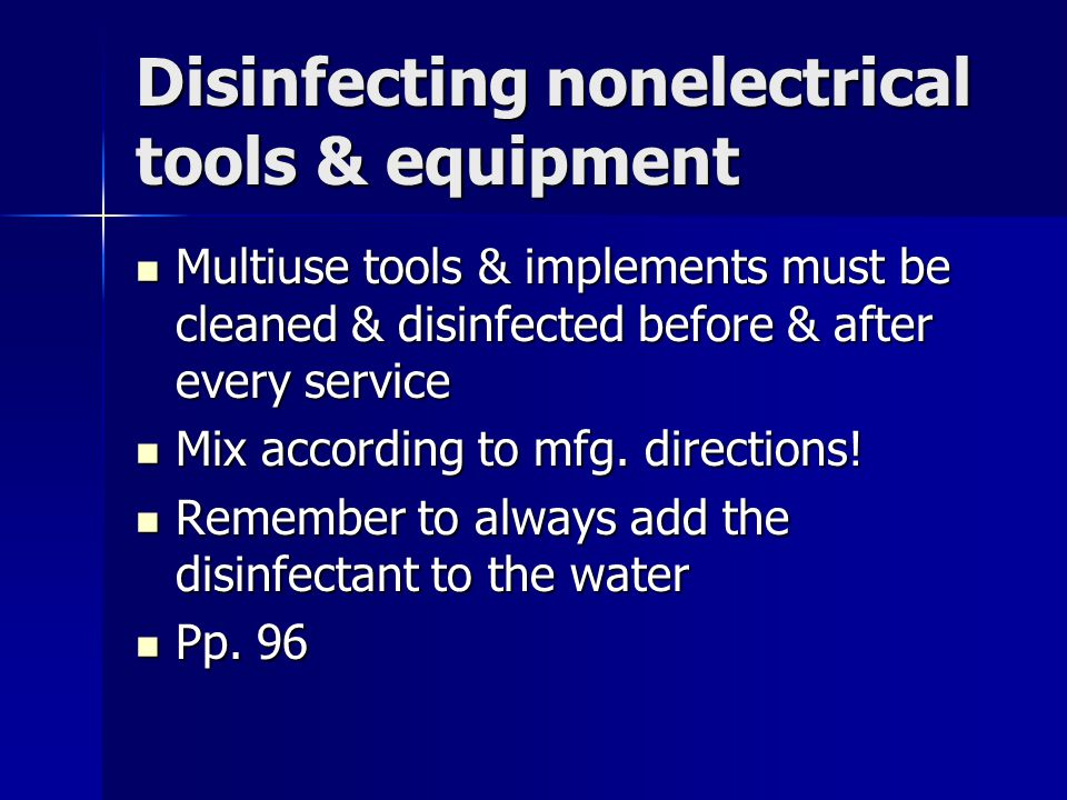 Disinfecting nonelectrical tools & equipment
