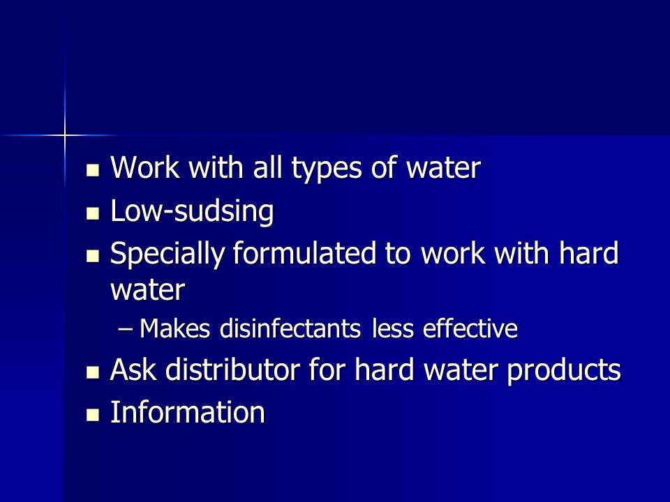Work with all types of water Low-sudsing