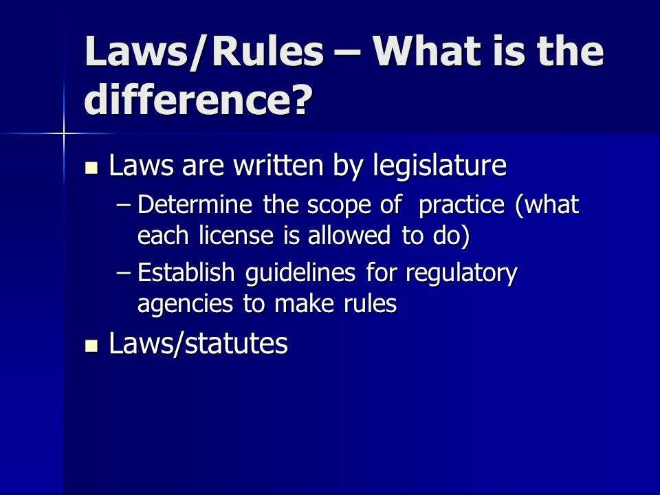 Laws/Rules – What is the difference