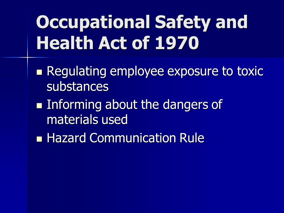 Occupational Safety and Health Act of 1970