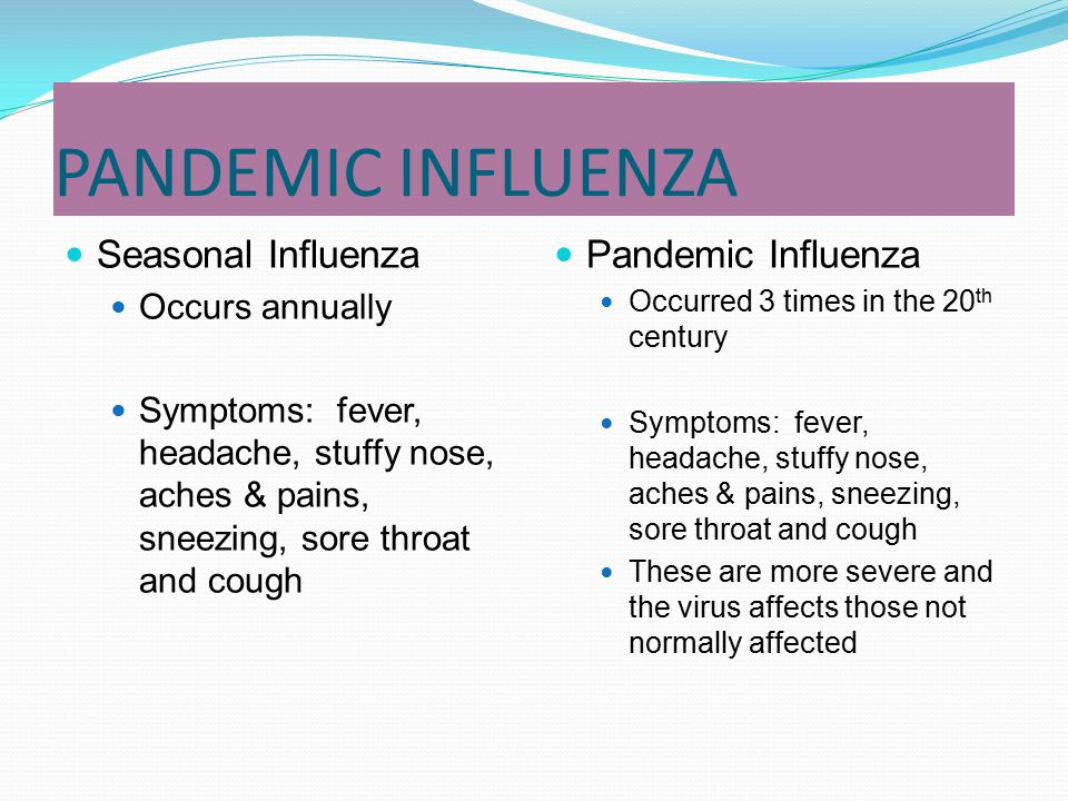 PANDEMIC INFLUENZA Seasonal Influenza Pandemic Influenza