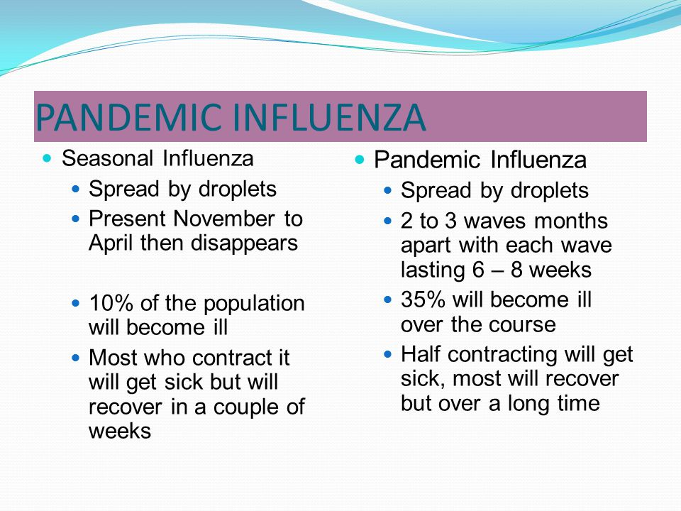 PANDEMIC INFLUENZA Pandemic Influenza Seasonal Influenza