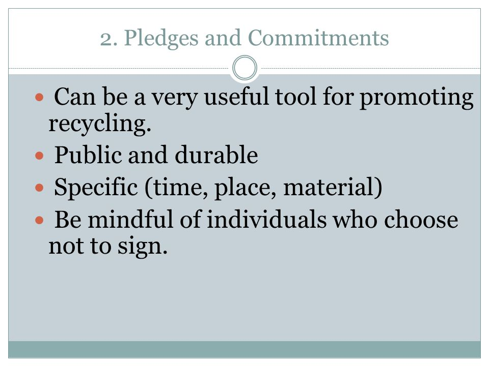 2. Pledges and Commitments