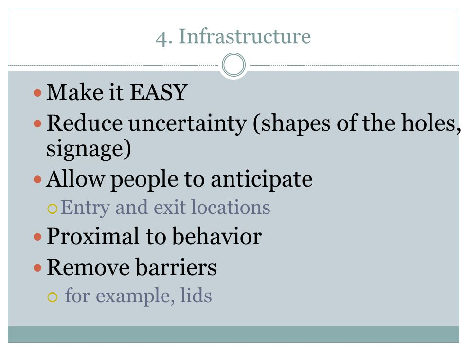 Reduce uncertainty (shapes of the holes, signage)