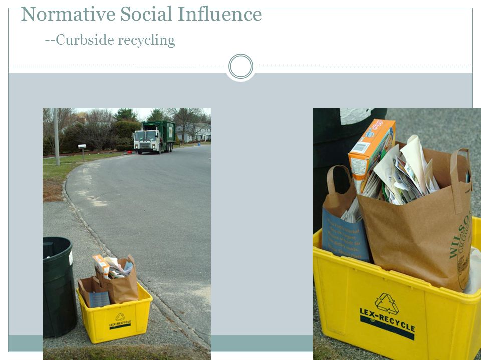 Normative Social Influence --Curbside recycling
