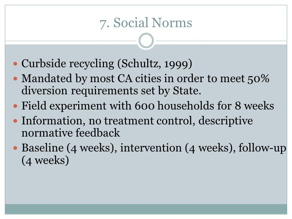 7. Social Norms Curbside recycling (Schultz, 1999)