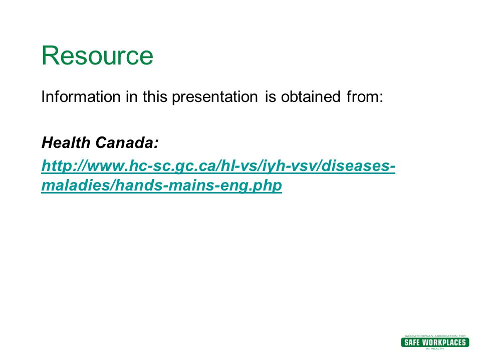 Resource Information in this presentation is obtained from:
