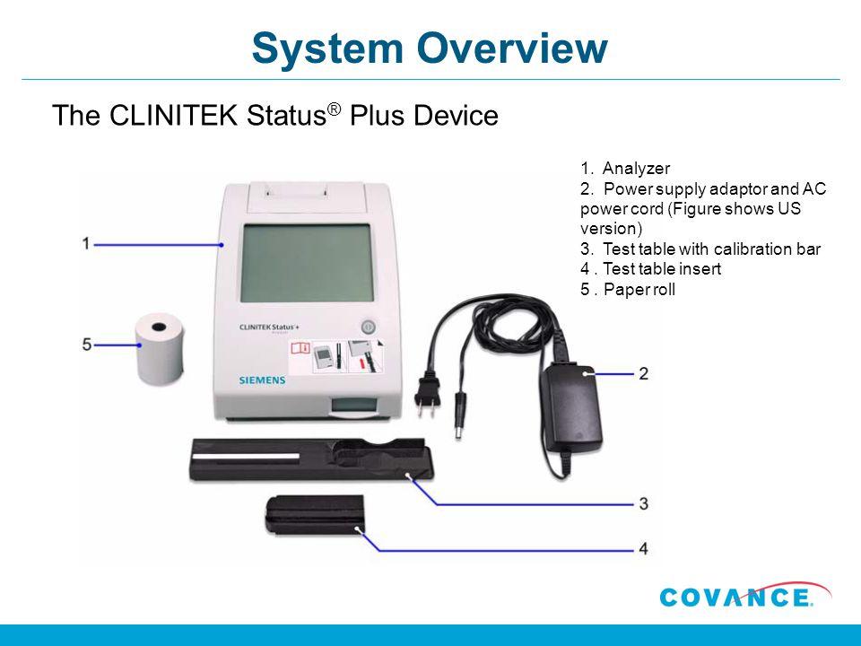 System Overview The CLINITEK Status® Plus Device 1. Analyzer