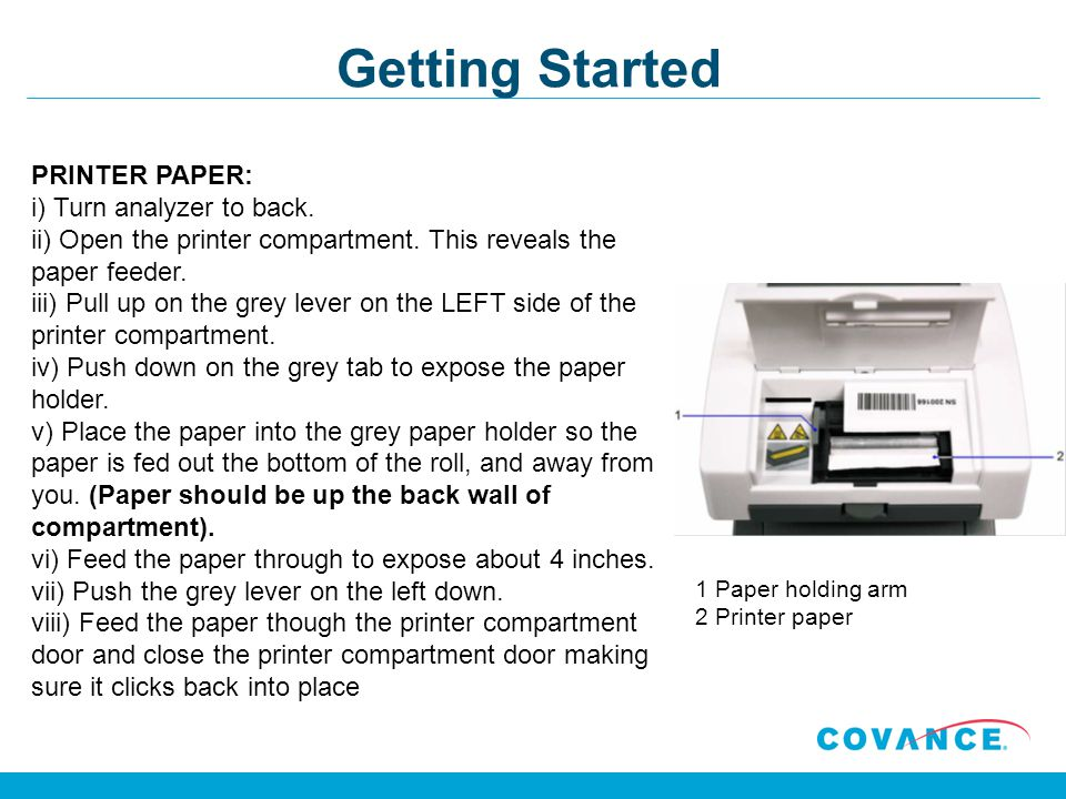 Getting Started PRINTER PAPER: i) Turn analyzer to back.