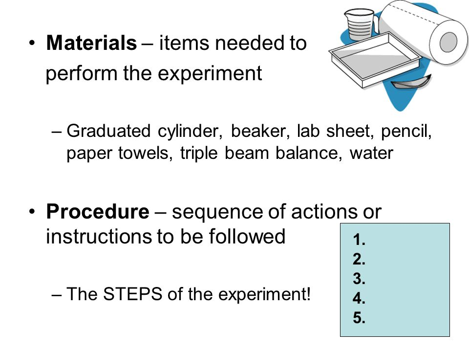 Materials – items needed to perform the experiment