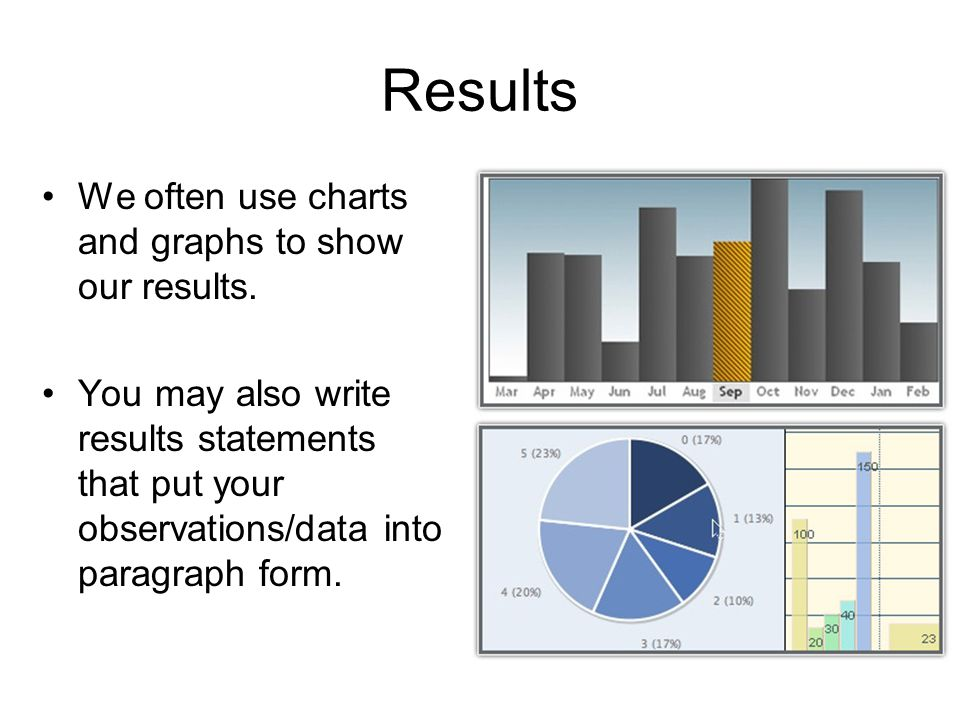 Results We often use charts and graphs to show our results.