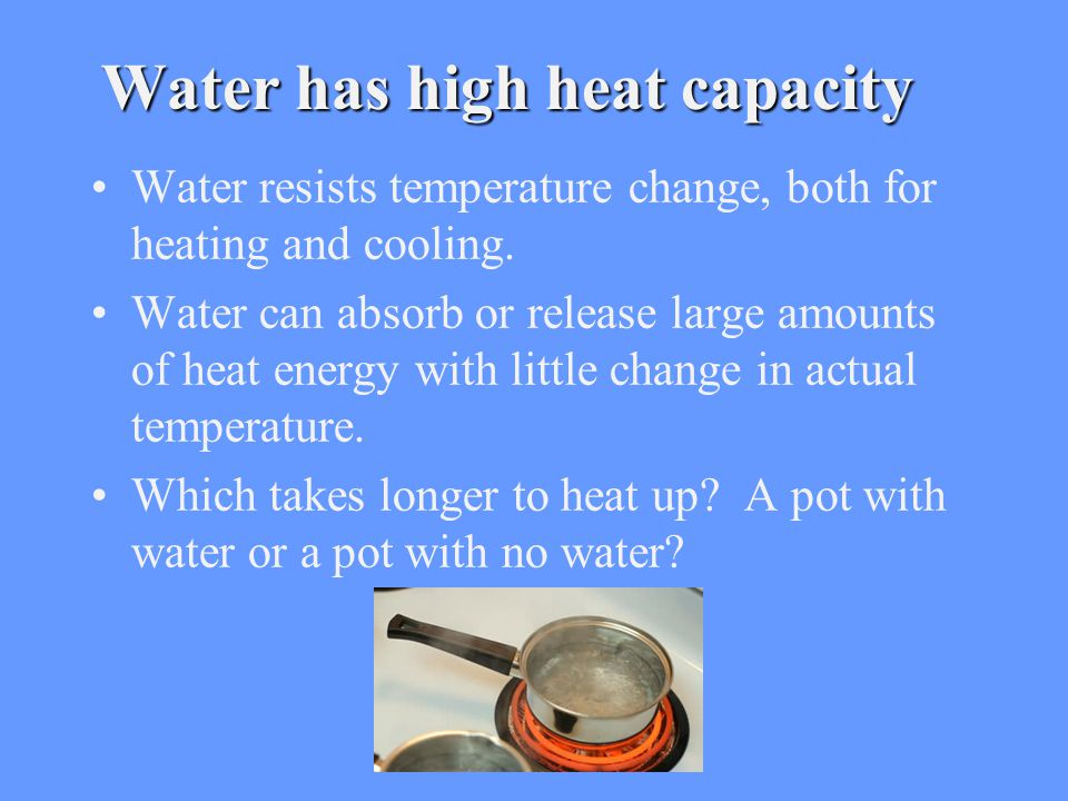Water has high heat capacity