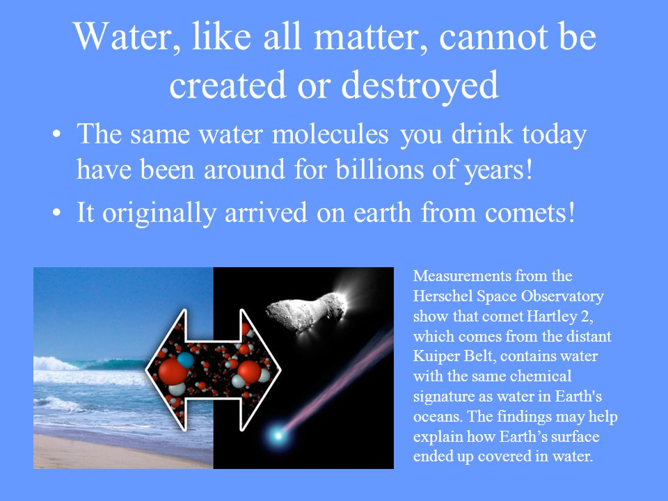 Water, like all matter, cannot be created or destroyed