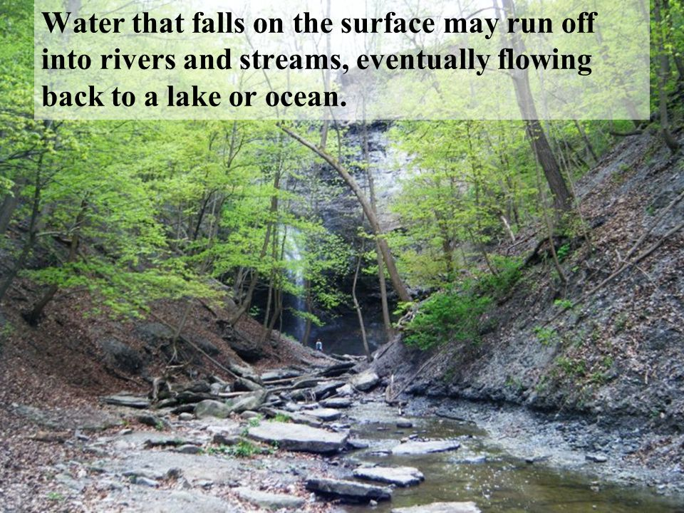 Water that falls on the surface may run off into rivers and streams, eventually flowing back to a lake or ocean.