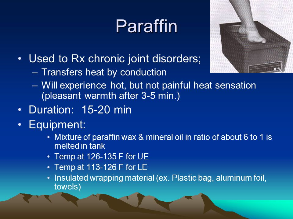 Paraffin Used to Rx chronic joint disorders; Duration: 15-20 min