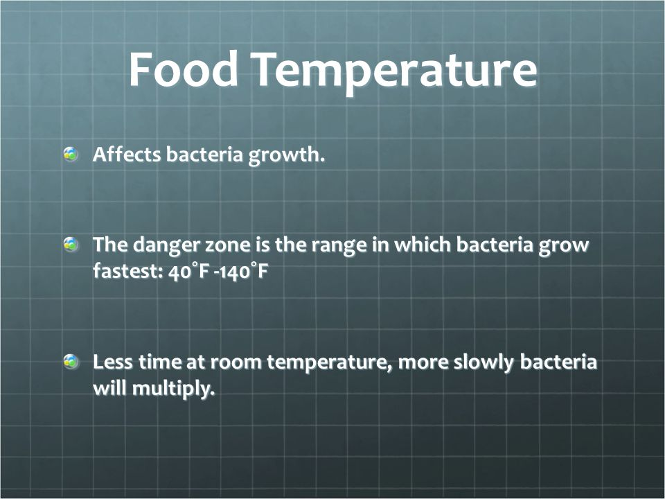 Food Temperature Affects bacteria growth.