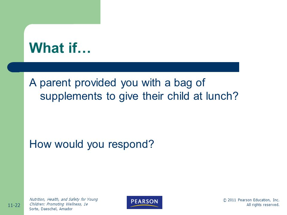 What if… A parent provided you with a bag of supplements to give their child at lunch.