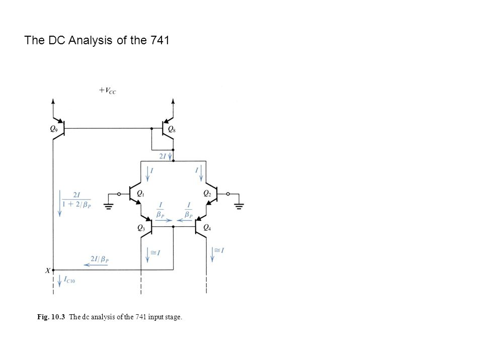 The DC Analysis of the 741 Fig. 10.3 The dc analysis of the 741 input stage.