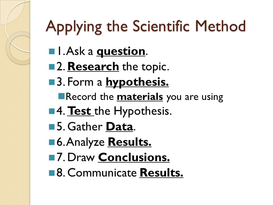 Applying the Scientific Method