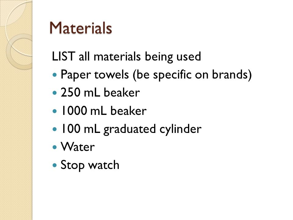 Materials LIST all materials being used