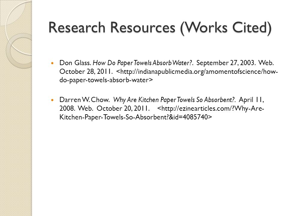 Research Resources (Works Cited)