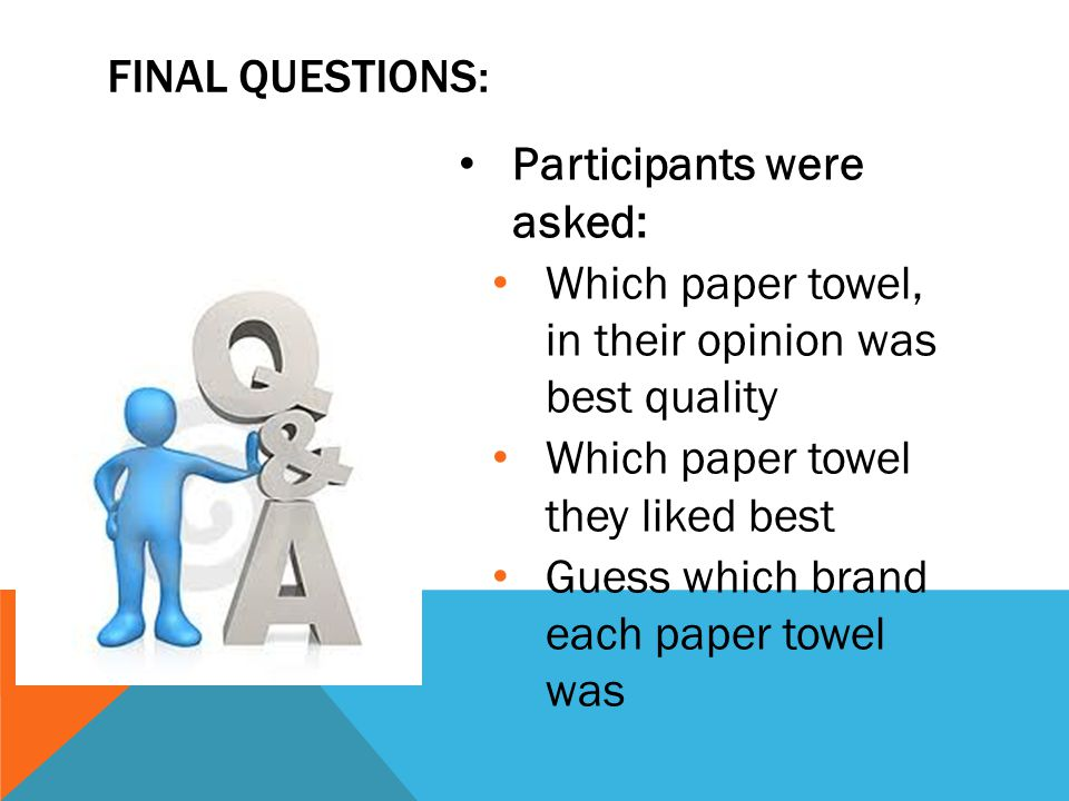 Final questions: Participants were asked: Which paper towel, in their opinion was best quality.