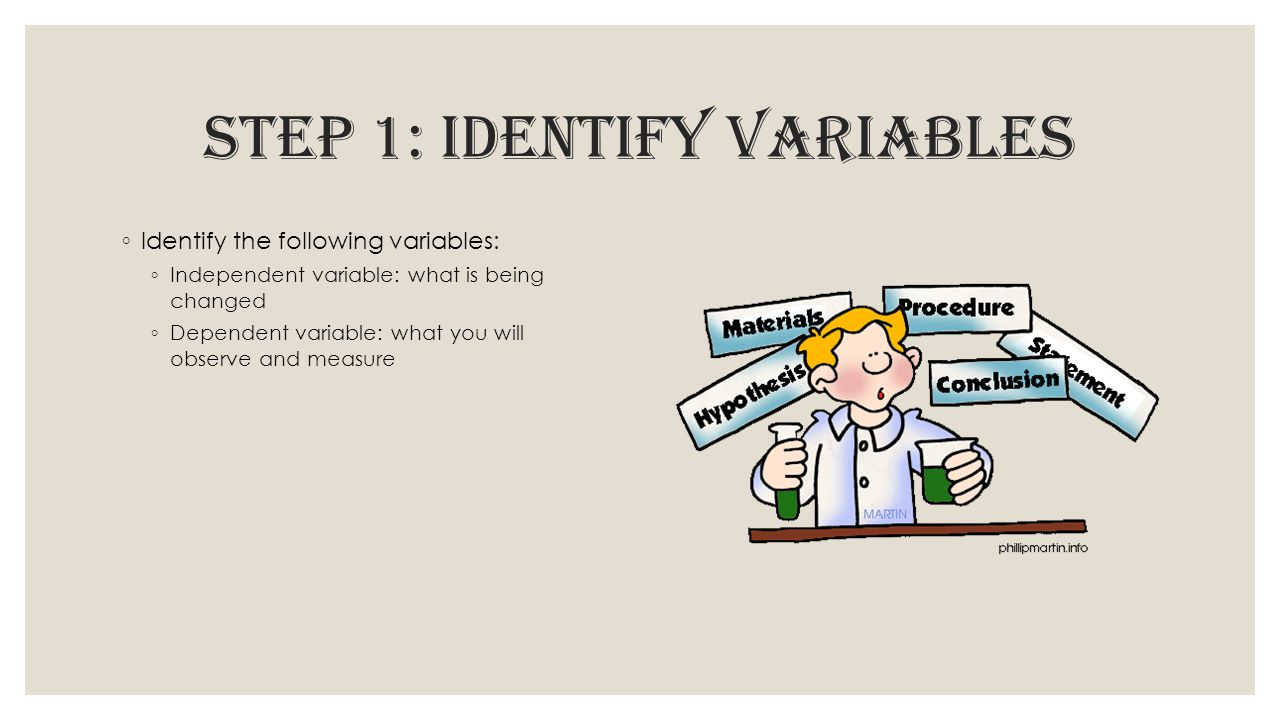 STEP 1: Identify variables