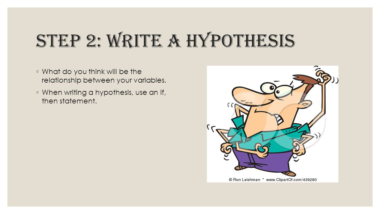 Step 2: write a hypothesis