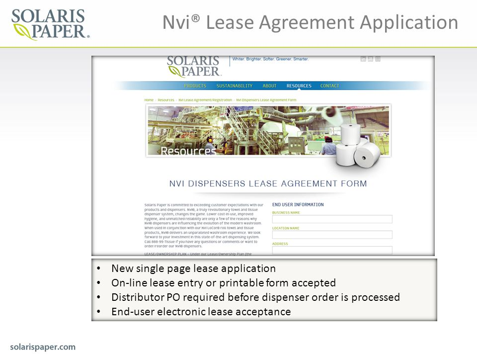 Nvi® Lease Agreement Application