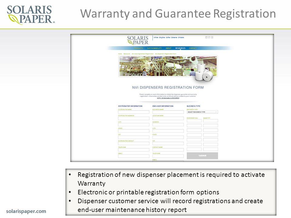 Warranty and Guarantee Registration