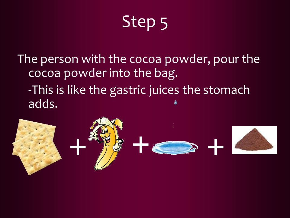 Step 5 The person with the cocoa powder, pour the cocoa powder into the bag. -This is like the gastric juices the stomach adds.