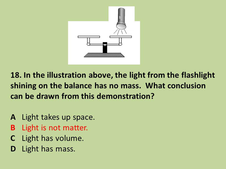 18. In the illustration above, the light from the flashlight shining on the balance has no mass. What conclusion can be drawn from this demonstration