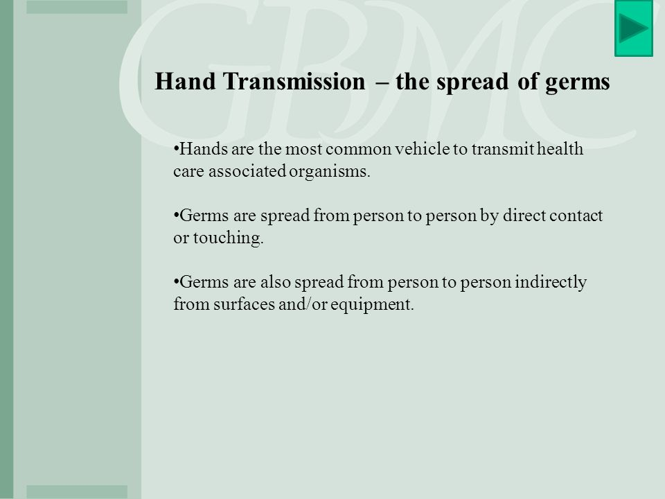 Hand Transmission – the spread of germs