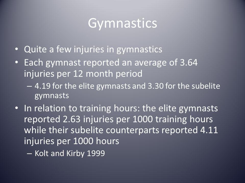 Gymnastics Quite a few injuries in gymnastics