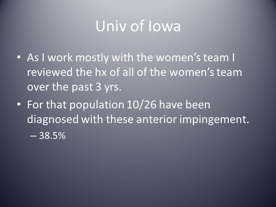 Univ of Iowa As I work mostly with the women's team I reviewed the hx of all of the women's team over the past 3 yrs.