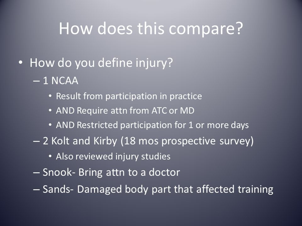 How does this compare How do you define injury 1 NCAA