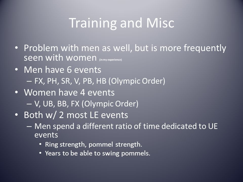Training and Misc Problem with men as well, but is more frequently seen with women (in my experience)