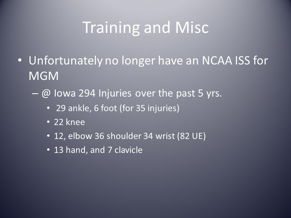 Training and Misc Unfortunately no longer have an NCAA ISS for MGM