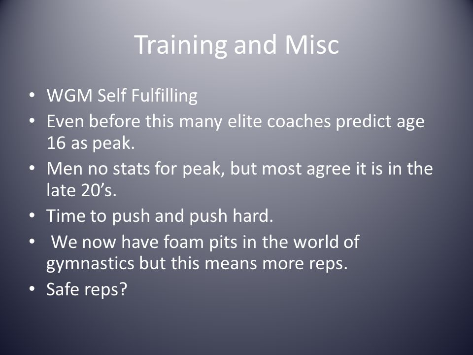 Training and Misc WGM Self Fulfilling