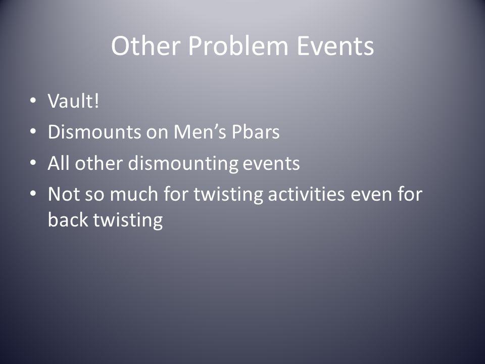 Other Problem Events Vault! Dismounts on Men's Pbars