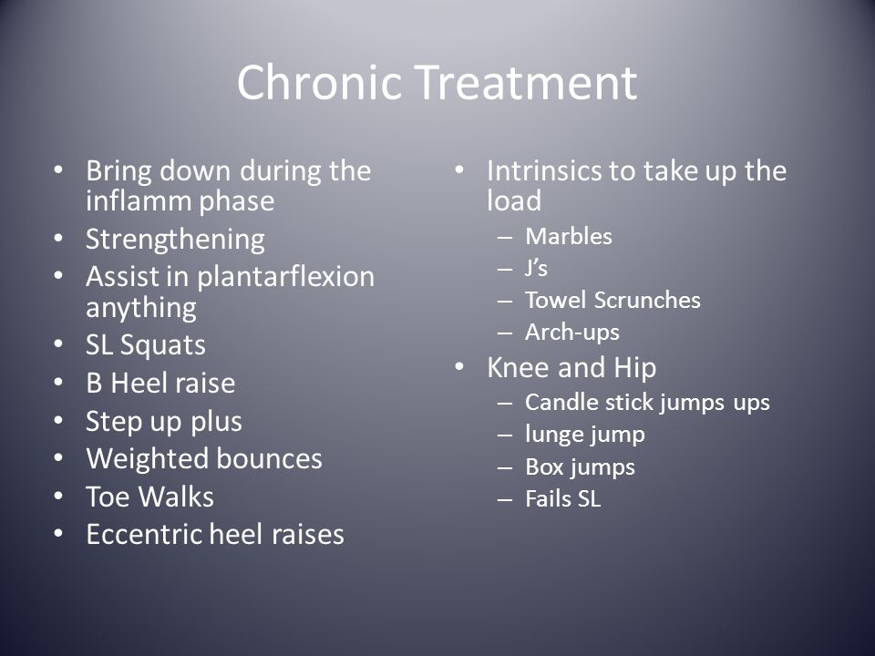 Chronic Treatment Bring down during the inflamm phase Strengthening