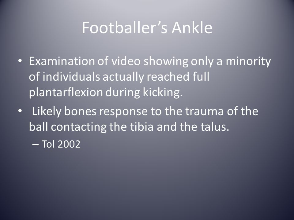 Footballer's Ankle Examination of video showing only a minority of individuals actually reached full plantarflexion during kicking.