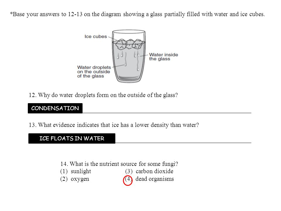 12. Why do water droplets form on the outside of the glass