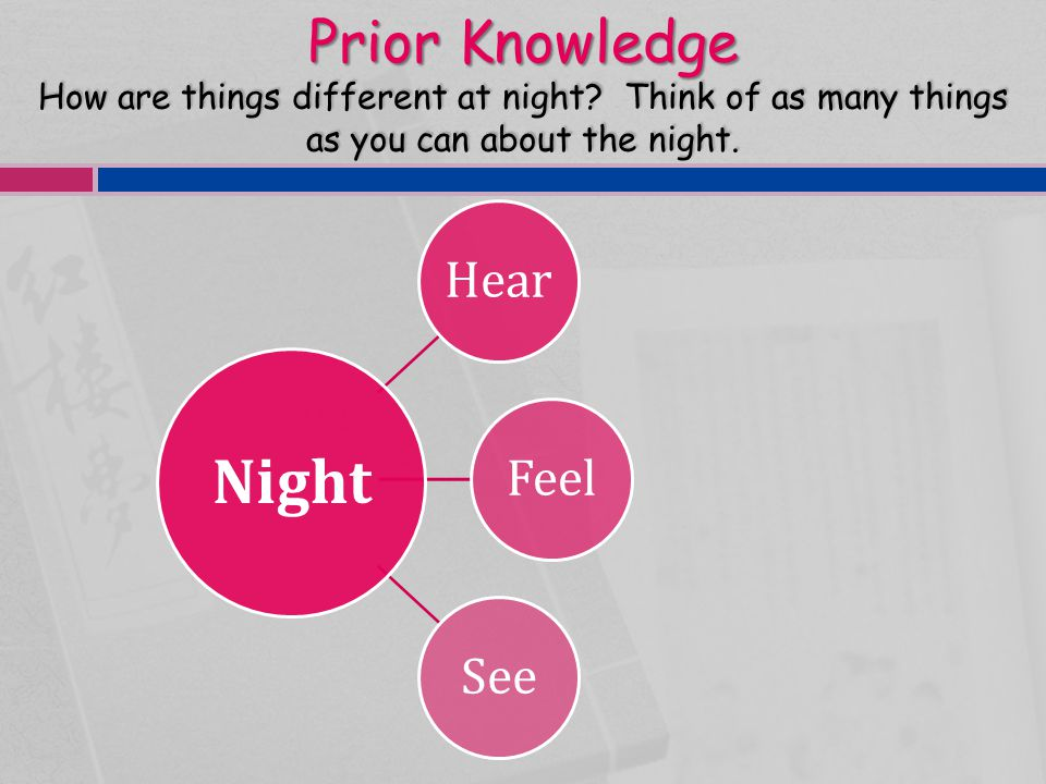 Prior Knowledge How are things different at night