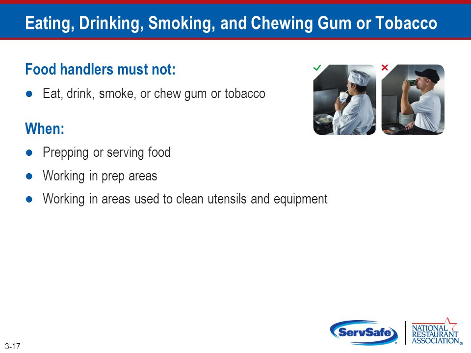 Eating, Drinking, Smoking, and Chewing Gum or Tobacco