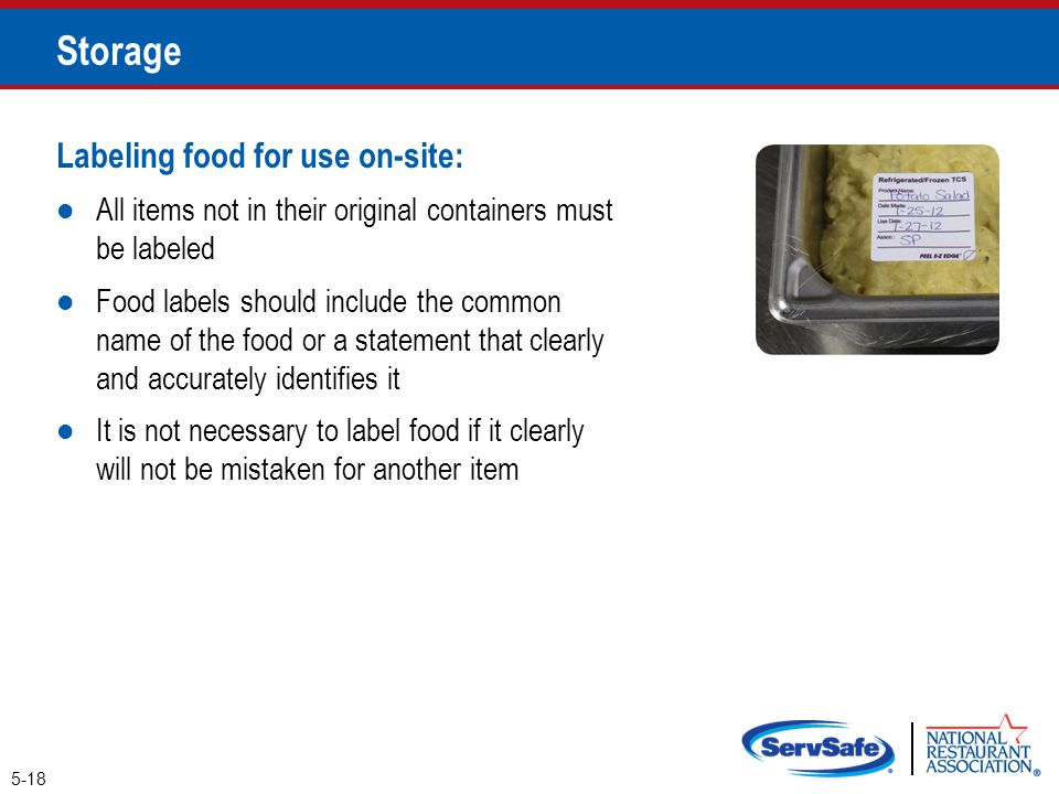 Storage Labeling food for use on-site: