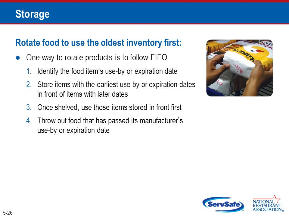Storage Rotate food to use the oldest inventory first: