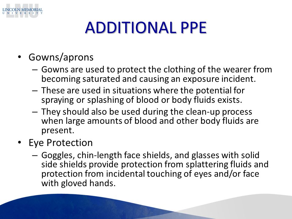 ADDITIONAL PPE Gowns/aprons Eye Protection