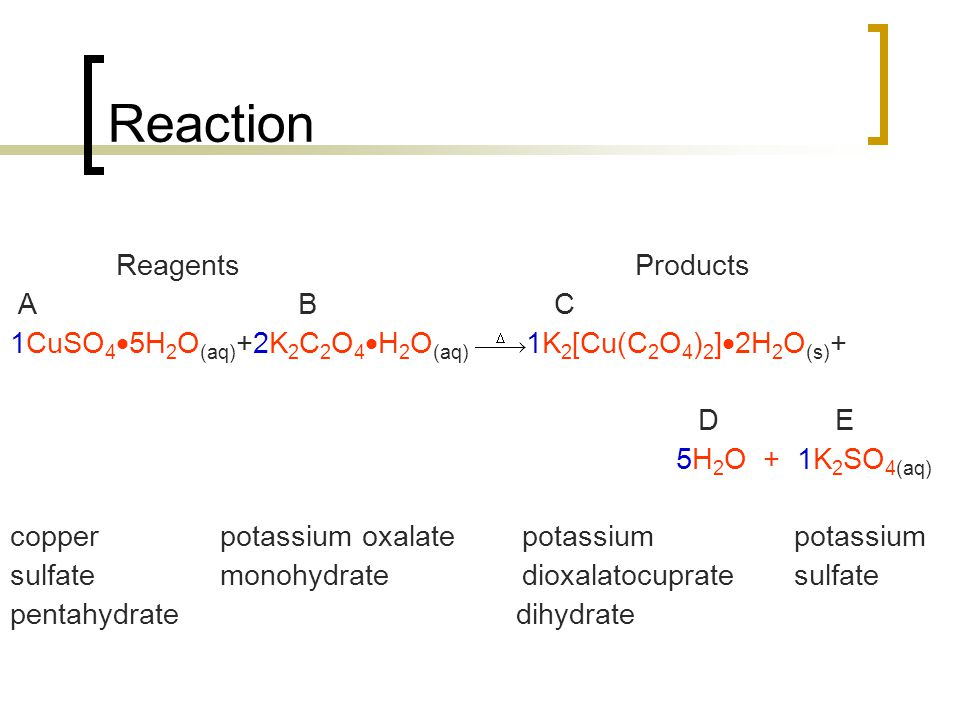 Reaction Reagents Products A B C